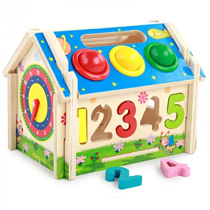 Jucarie lemn Casuta cu activitati 5 in 1, Toyska [3]