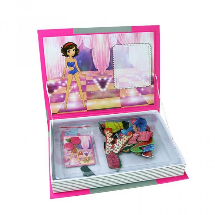Joc educativ Carte magnetica cu piese puzzle, Princess Dress Up, Toyska [2]