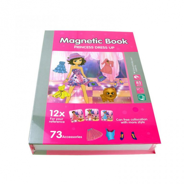 Joc educativ Carte magnetica cu piese puzzle, Princess Dress Up, Toyska [0]