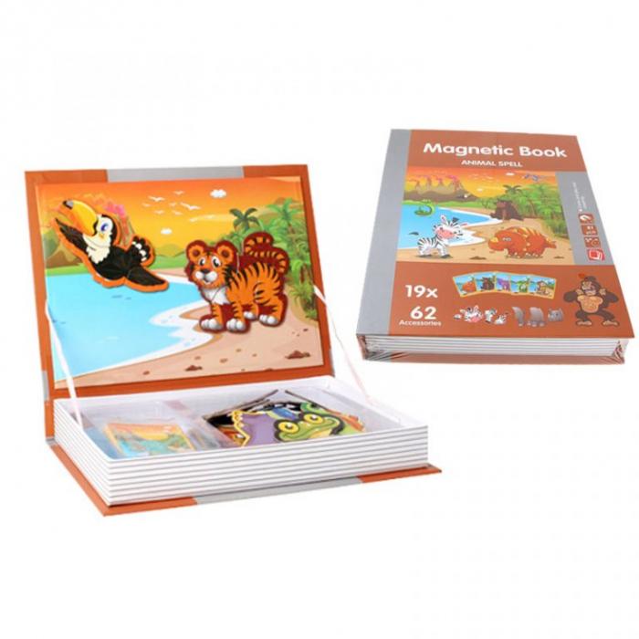 Joc educativ Carte magnetica cu piese puzzle, Animal Spell, Toyska [0]
