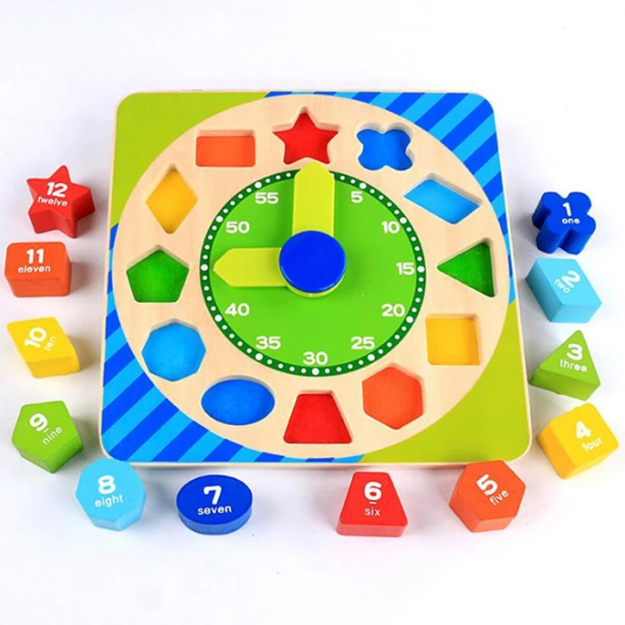 Ceas Montessori din lemn, cu forme geometrice, Toyska [1]