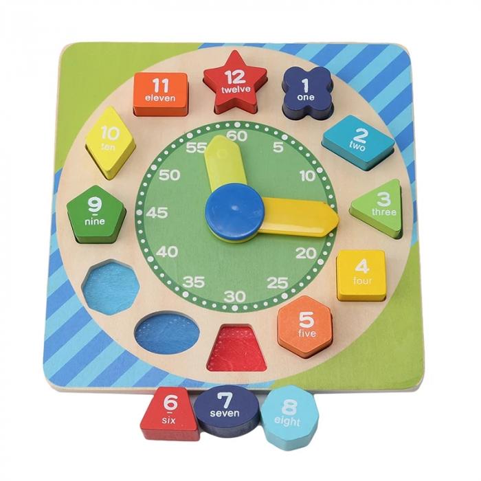 Ceas Montessori din lemn, cu forme geometrice, Toyska [0]