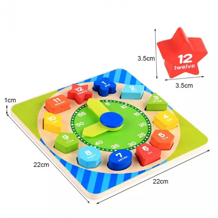 Ceas Montessori din lemn, cu forme geometrice, Toyska [3]
