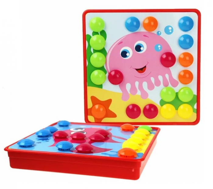 Joc creativ mozaic Genius Art, Animale Marine, 12 cartonase, 35 de butoni, Toyska [0]