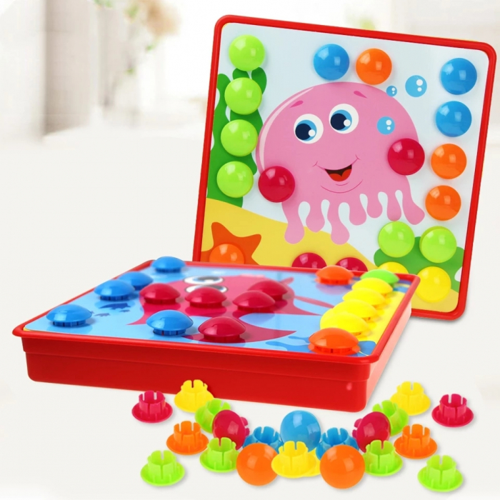 Joc creativ mozaic Genius Art, Animale Marine, 12 cartonase, 35 de butoni, Toyska [1]