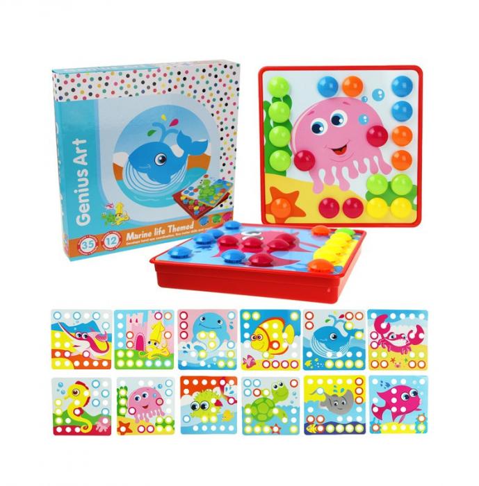 Joc creativ mozaic Genius Art, Animale Marine, 12 cartonase, 35 de butoni, Toyska [5]