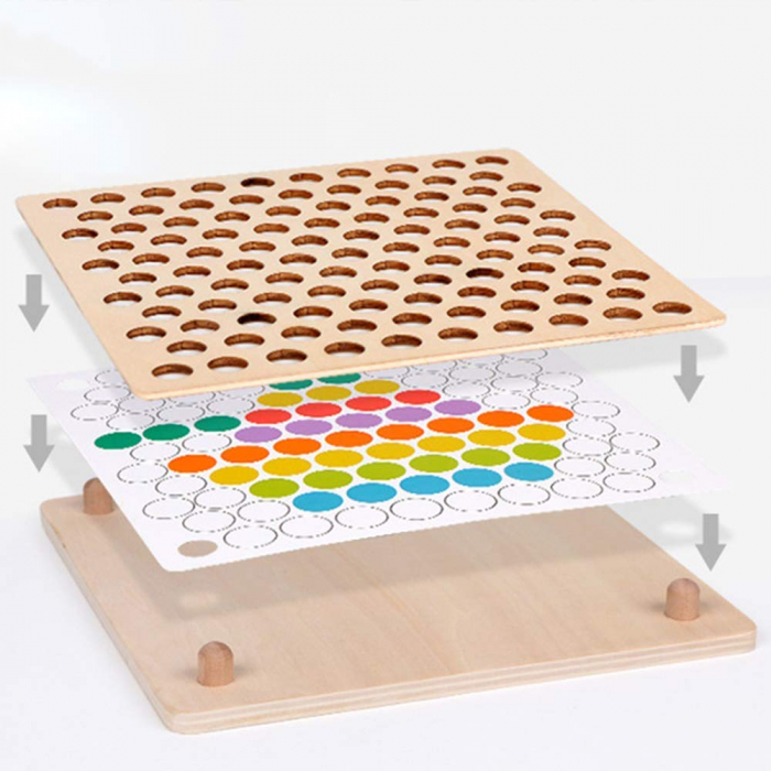 Joc Montessori de indemanare si asociere culori, Toyska [5]