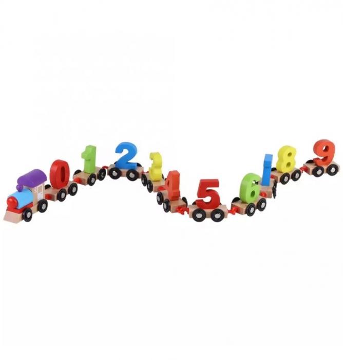 Tren din lemn cu vagoane cifre de la 0 la 9, Toyska [1]