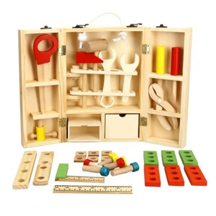Trusa de scule din lemn Montessori, 25 piese, Toyska [0]