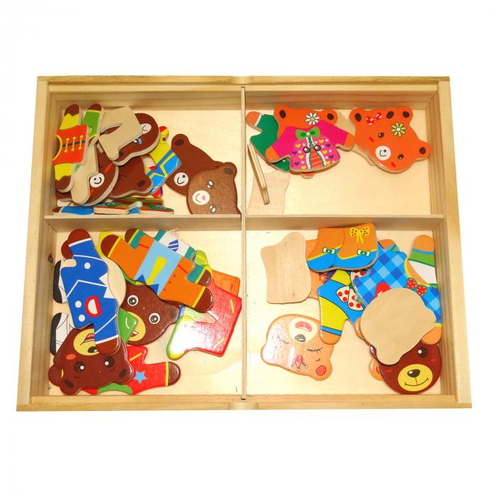 Joc Puzzle din lemn Imbraca Ursuletii, Toyska [2]