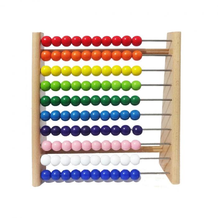 Numaratoare din lemn, Abac, bile colorate, Toyska [0]