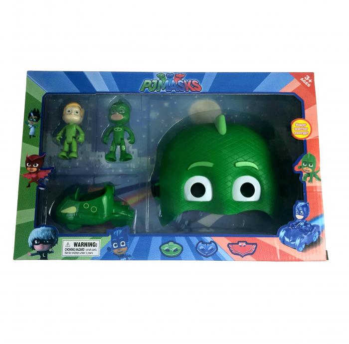 Set Eroi in Pijama figurine, masina si masca, Sopi, Toyska [1]