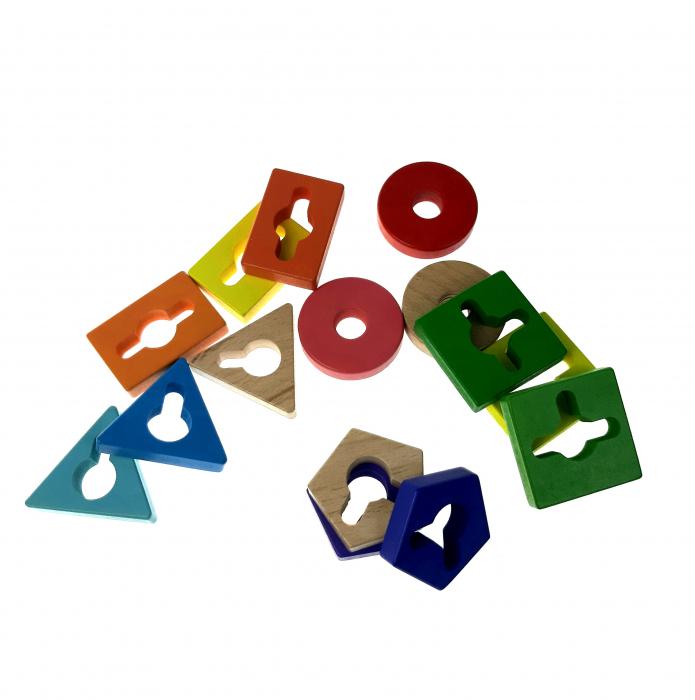 Sortator Montessori forme geometrice, 5 coloane, Toyska [2]
