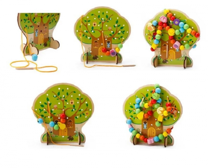 Joc Montessori 2 in 1 Pomul cu fructe, snuruit si insirat, Toyska [1]