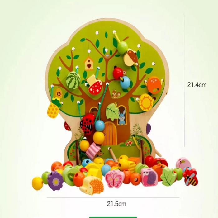 Joc Montessori 2 in 1 Pomul cu fructe, snuruit si insirat, Toyska [3]
