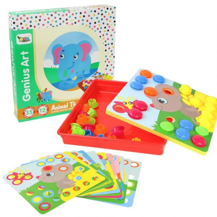 Joc creativ mozaic Genius Art, Animale, 12 cartonase, 35 de butoni, Toyska [1]