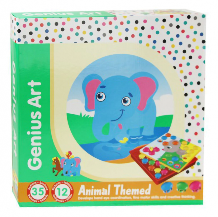 Joc creativ mozaic Genius Art, Animale, 12 cartonase, 35 de butoni, Toyska [0]