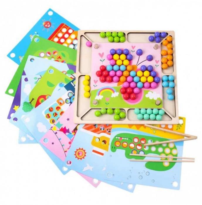 Joc Mozaic cu bile din lemn, indemanare si asociere culori, Toyska [0]