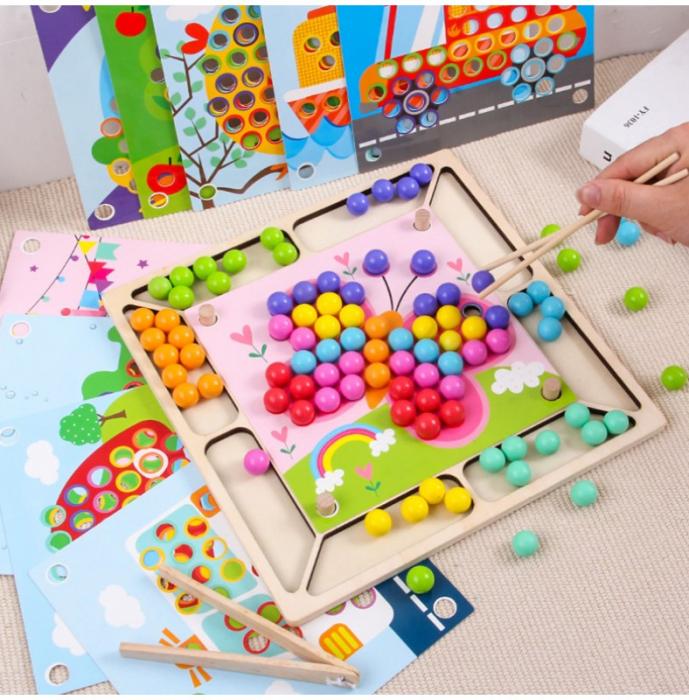 Joc Mozaic cu bile din lemn, indemanare si asociere culori, Toyska [1]