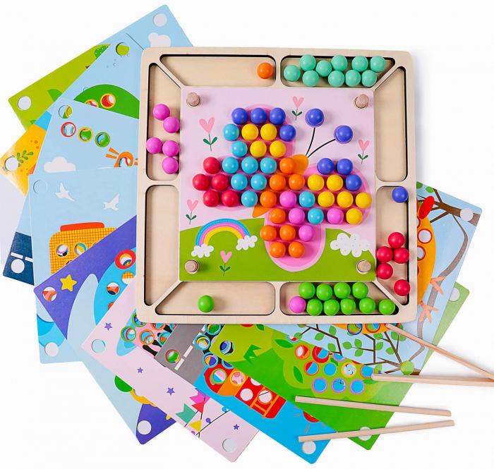 Joc Mozaic cu bile din lemn, indemanare si asociere culori, Toyska [2]