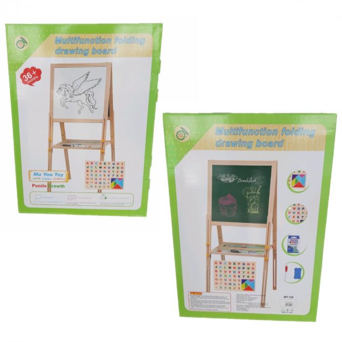 Tabla educativa reglabila din lemn, 3 in 1 sevalet, 71x51, Toyska [2]