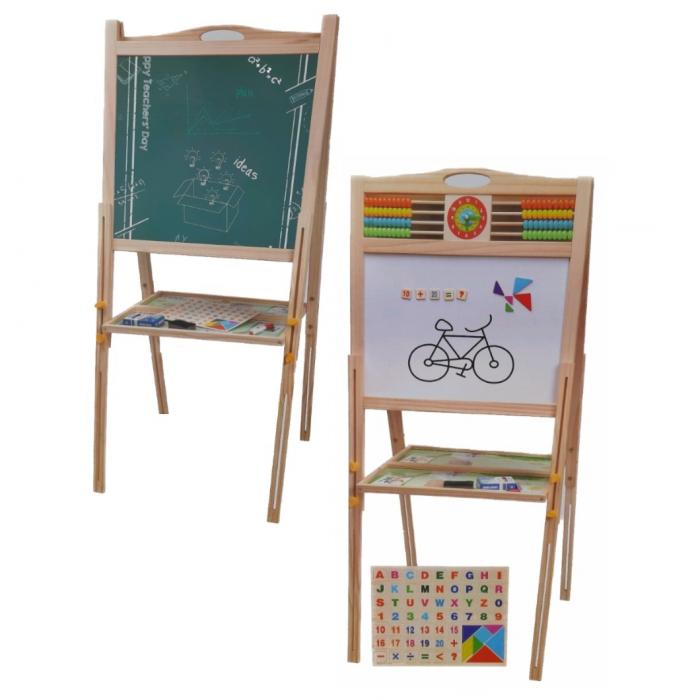 Tabla educativa reglabila din lemn, 3 in 1 sevalet, 80x58, Toyska [0]