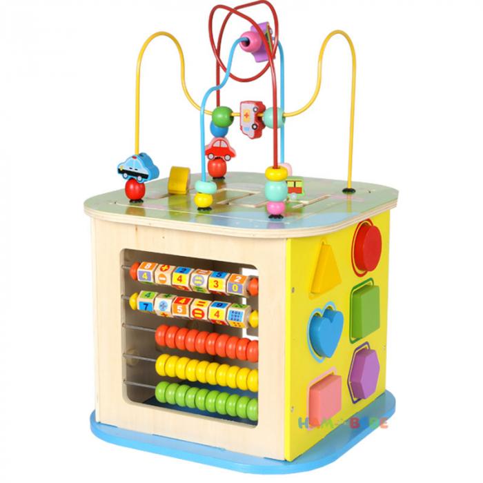 Cub educativ din lemn 6 in 1, Toyska [3]