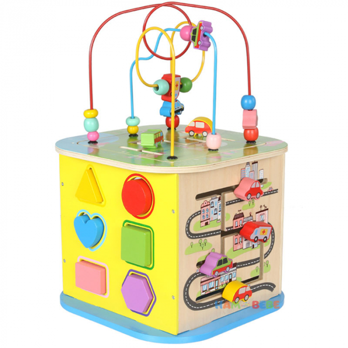 Cub educativ din lemn 6 in 1, Toyska [4]