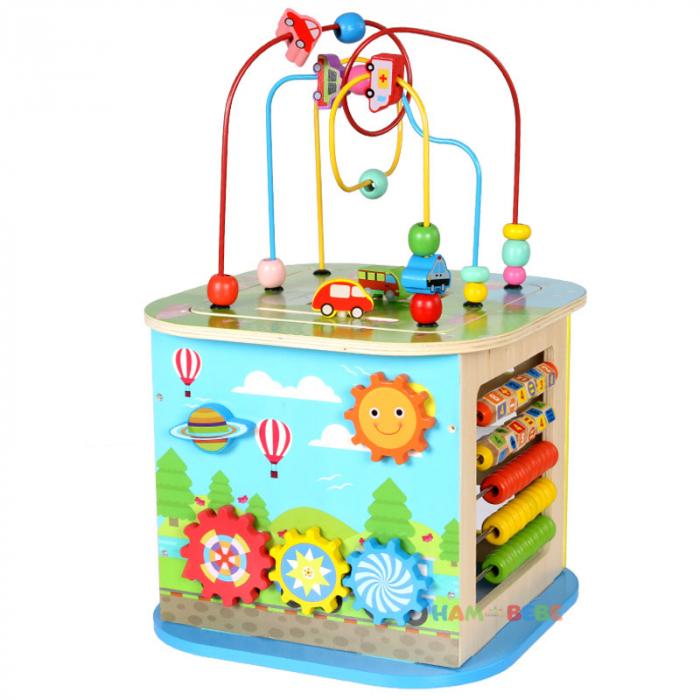 Cub educativ din lemn 6 in 1, Toyska [0]