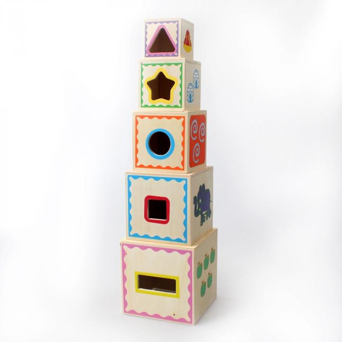 Turn Montessori din lemn 5 cuburi Cifre si Forme, Toyska [1]