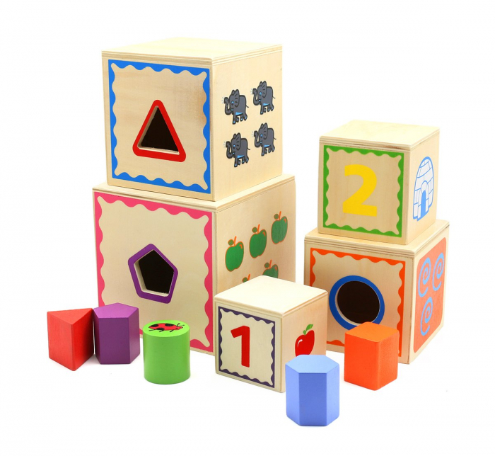 Turn Montessori din lemn 5 cuburi Cifre si Forme, Toyska [0]