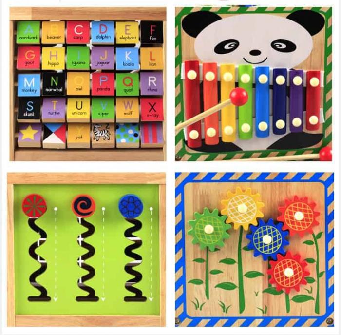 Cub din lemn educativ 6 in 1 activitati Busy Beads Panda, Toyska [4]