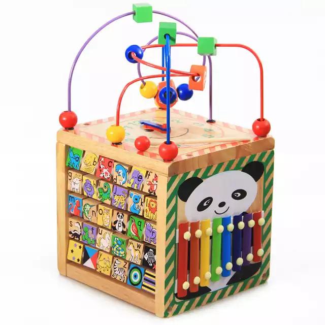 Cub din lemn educativ 6 in 1 activitati Busy Beads Panda, Toyska [0]