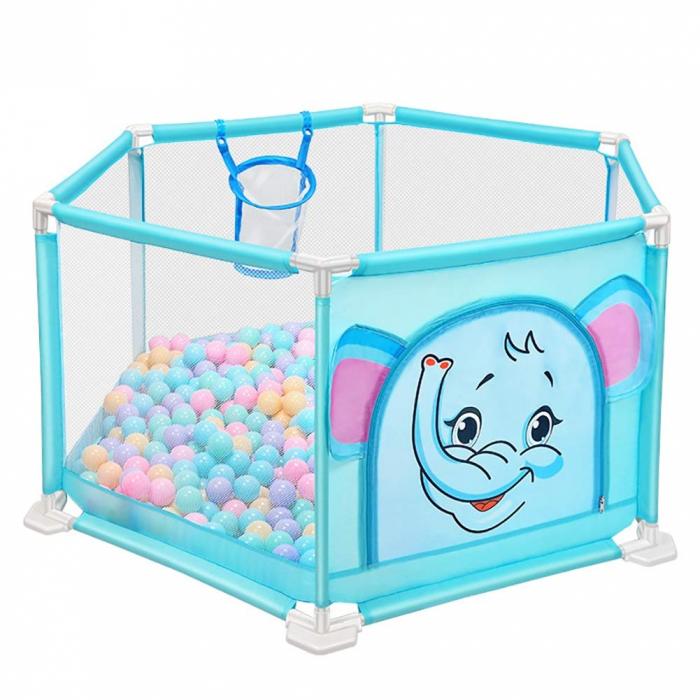 Tarc de joaca pentru bebelusi ,146x66, 50 bile, Albastru, Toyska [1]