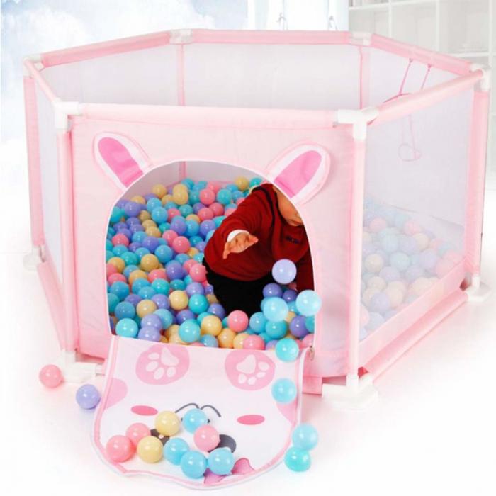Tarc de joaca pentru bebelusi, 50 bile, 125x55 cm, Roz [2]