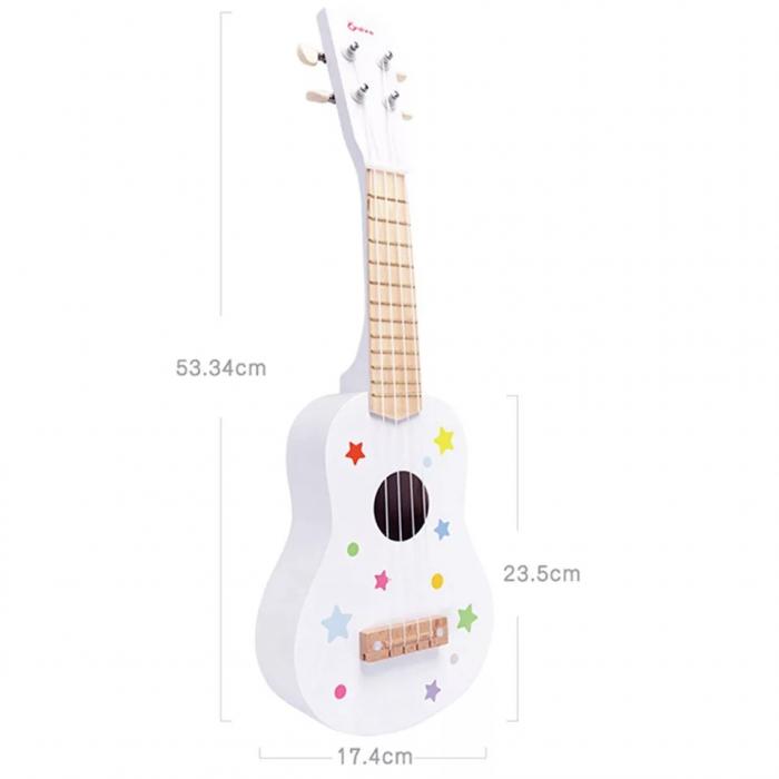 Chitara clasica din lemn de jucarie, 53 cm, Alb, Toyska [2]
