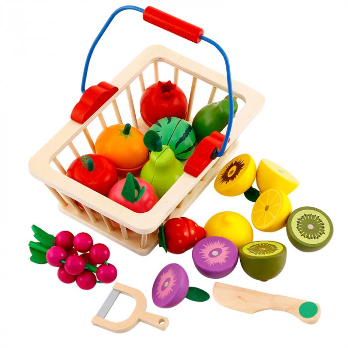Jucarie lemn Cosuletul cu Fructe de feliat, Toyska [0]