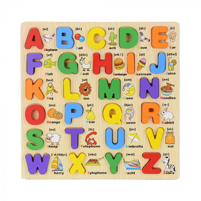 Puzzle lemn Alfabet 3D litere mari, Toyska [0]
