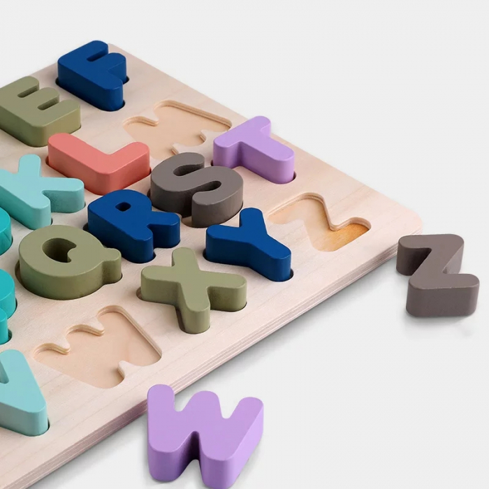 Puzzle lemn Alfabet 3D, litere mari, Toyska [3]