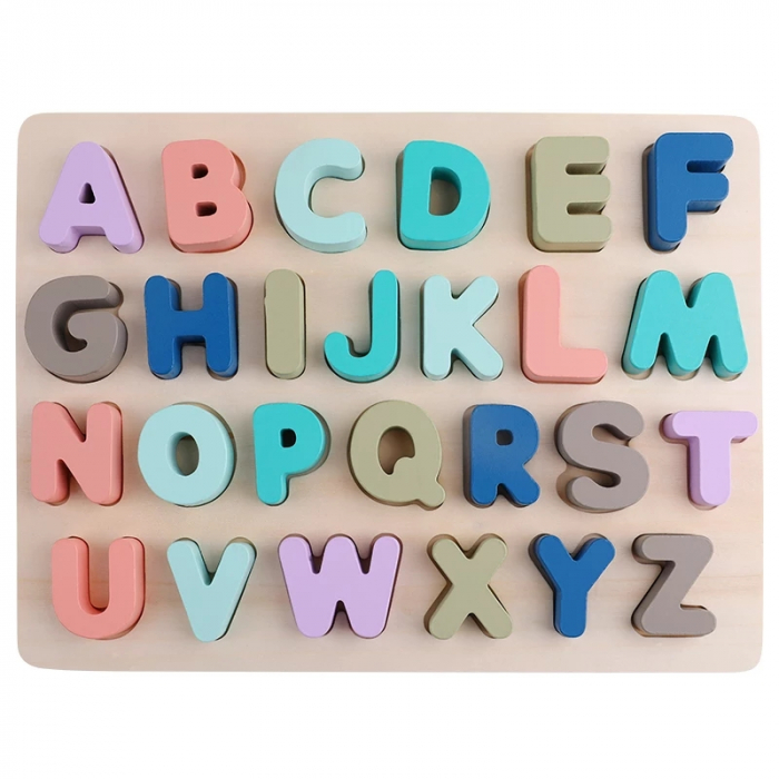 Puzzle lemn Alfabet 3D, litere mari, Toyska [0]