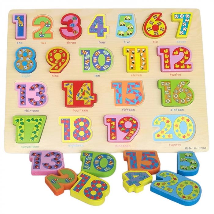 Puzzle 3D lemn numere in engleza 1-20, Toyska [0]