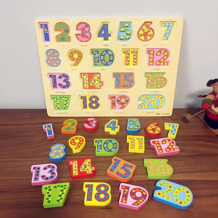 Puzzle 3D lemn numere in engleza 1-20, Toyska [1]