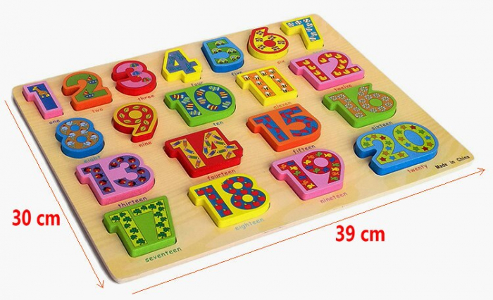 Puzzle 3D lemn numere in engleza 1-20, Toyska [4]