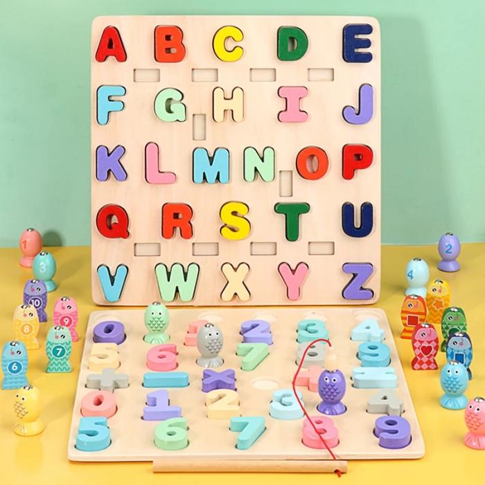 Puzzle 3D lemn Litere si joc pescuit 2 in 1, Toyska [2]