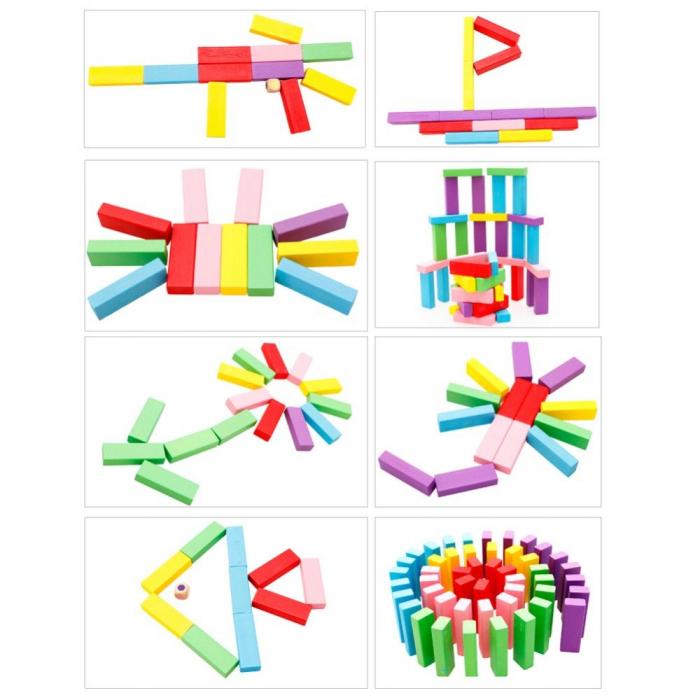 Cuburi Lemn Jenga Turnul Instabil Colorate, Toyska [3]