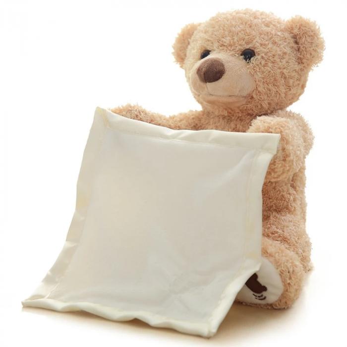 Ursulet de plus Cucu-Bau, Peek a boo, melodie in limba Engleza, 26 cm, crem [0]