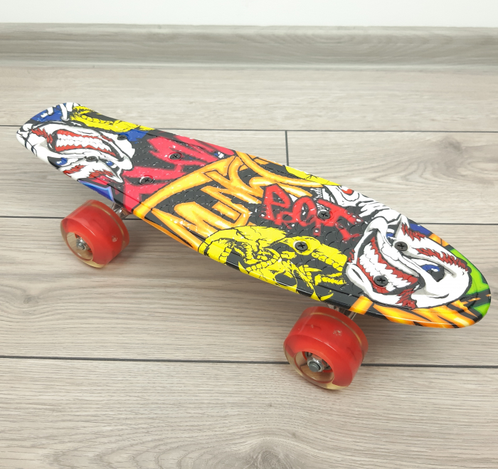 Penny Board Graffiti cu roti luminoase LED, 42 cm, Rosu, Toyska [2]