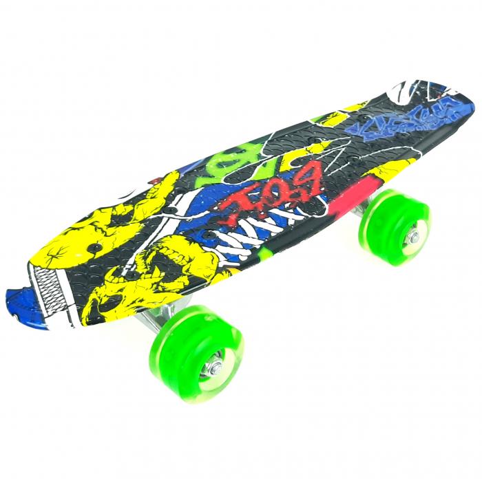 nny Board Graffiti cu roti luminoase LED, 42 cm, Verde, Toyska [0]