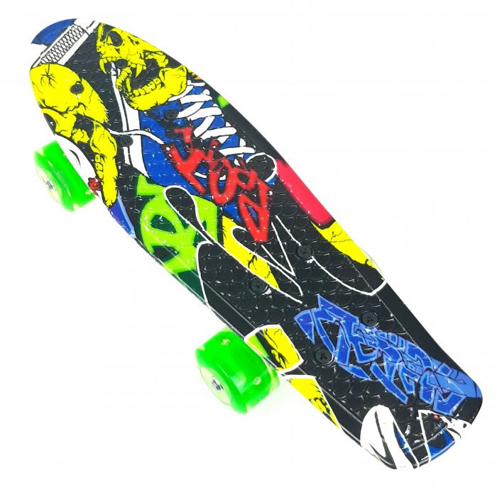 nny Board Graffiti cu roti luminoase LED, 42 cm, Verde, Toyska [1]