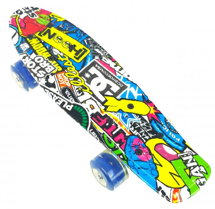 Penny Board Graffiti cu roti luminoase LED, 42 cm, Albastru, Toyska [1]